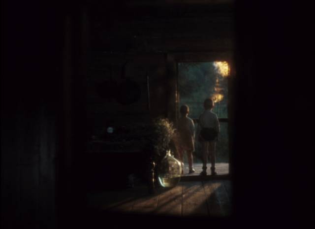 A glimpse in the mirror of young Alexei and his sister watching the barn burn in Andrei Tarkovsky's Mirror (1975)