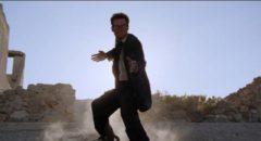 Kung-fu musician Buddy (Jeffrey Falcon) fights his way across the desert in Lance Mungia's Six String Samurai (1998)