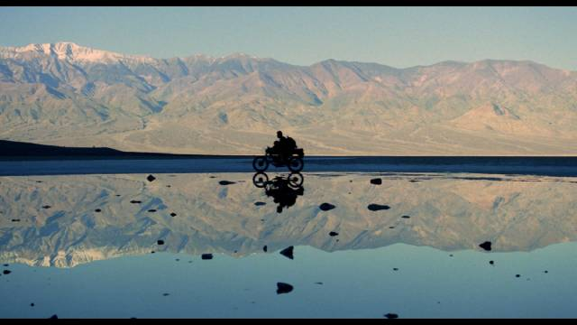 Cinematographer Kristian Bernier makes spectacular use of the Death Valley landscape in Lance Mungia's Six String Samurai (1998)