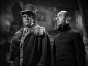 Good brother Anton (Boris Karloff) returns to the ancestral home in Roy William Neill's The Black Room (1935)