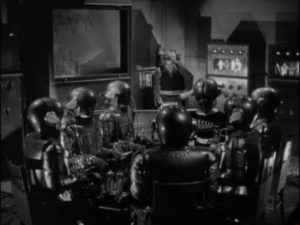 Dr. Julian Blair (Karloff) builds a machine to communicate with the dead in Edward Dmytryk's The Devil Commands (1941)