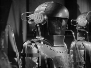 The recent dead are being used as signal boosters for Dr. Blair (Boris Karloff)'s machine in Edward Dmytryk's The Devil Commands (1941)