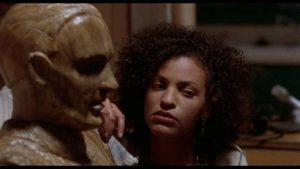 Carved wood figure Morty gradually takes on life in Vincent Robert's The Fear (1995)