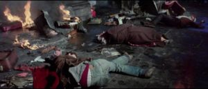 The aftermath of one of the Black Angel's bombings in Massimo Dallamano's Colt 38 Special Squad (1976)