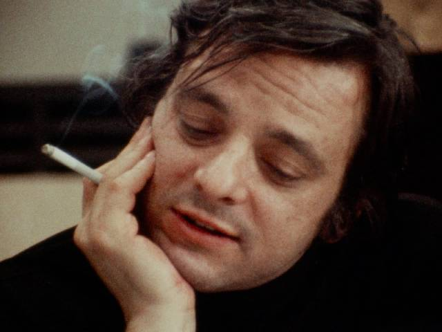 """Stephen Sondheim, ubiquitous cigarette in hand, listens to the performance from the booth in D.A. Pennebaker's Original Cast Album: """"Company"""" (1970)"""