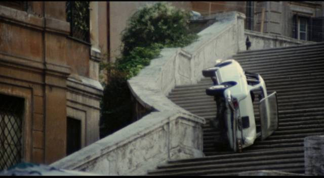 A cop car plunges down the Spanish Steps in Stelvio Massi's Highway Racer (1977)
