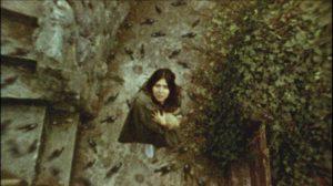 Altair (Diana Bovio) stands in the midst of a bird storm in Victor Dryere's 1974: La posesión de Altair (2016)