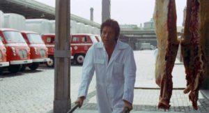 Working in a slaughterhouse has deadened Marcos (Vicente Parra)'s feelings in Eloy de la Iglesia's The Cannibal Man (1972)