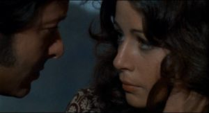 Marcos (Vicente Parra) tries to persuade his girlfriend Paula (Emma Cohen) not to go to the police in Eloy de la Iglesia's The Cannibal Man (1972)