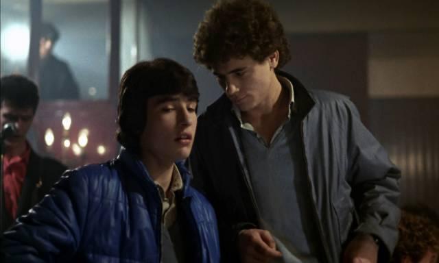 Paco (Jose Luis Manzano) and Urko (Javier Garcia) bond through their shared addiction in Eloy de la Iglesia's El Pico (1983)