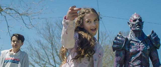 Mimi (Nita-Josee Hanna) and her long-suffering brother Luke (Owen Myre) play with evil in Steven Kostanski's Psycho Goreman (2020)