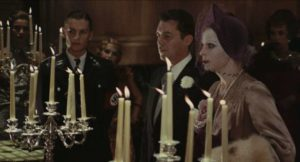 Baroness Sophie (Ingrid Thulin) and Friedrich (Dirk Bogarde)'s wedding binds them in imminent death in Luchino Visconti's The Damned (1969)