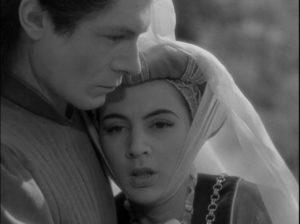 Gilles (Alain Cuny) falls in love with the mortal Anne (Marie Déa) in Marcel Carné's Les visiteurs du soir (1942)